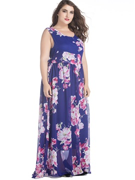 Plus Size Floral Chiffon Maxi Dress