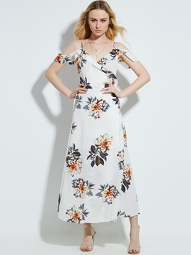 V-Neck Flower Print Backless Women's Maxi Dress