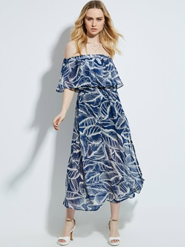 Slash Neck Plant Print Falbala Patchwork Maxi Dress