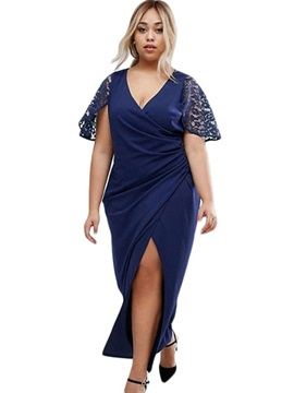 Blue Short Sleeve Women's Maxi Dress