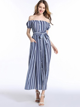 Chic Boat Neck Vertical Stripes Maxi Dress
