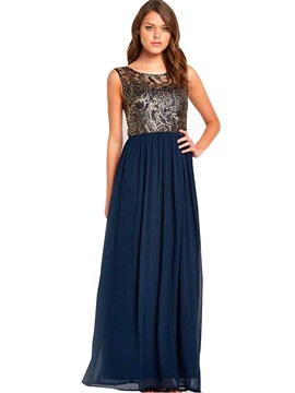 Round Neck Sleeveless Women's Maxi Dress