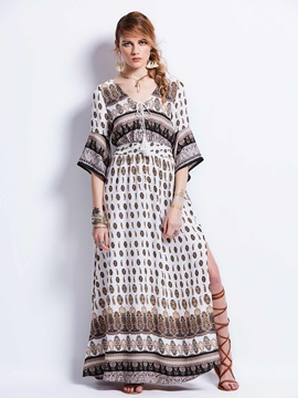 Deep V-Neck Flare Sleeve Geometric Pattern Women's  Dress