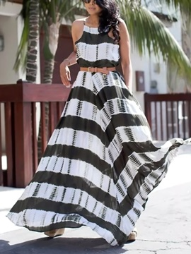 Strips Print Women's Maxi Dress