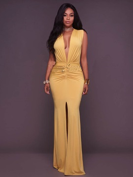 Yellow Sleeveless V Neck Maxi Dress
