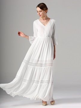 White V Neck Long Sleeve Maxi Dress