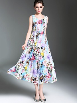 Round Neck Sleeveless Floral Imprint Women's Maxi Dress