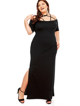Black Slash Neck Halter Plus Size Women's Maxi Dress