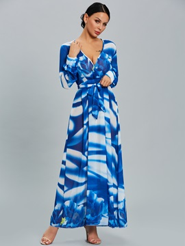 Chic Floral Imprint V Neck Long Sleeve Maxi Dress