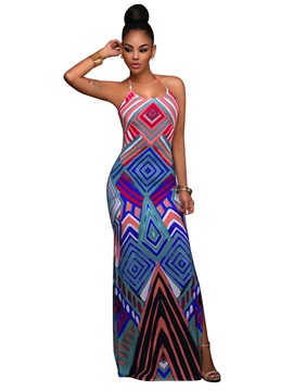 Straight Fit Print Maxi Dress