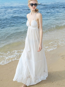 White Sleeveless Spaghetti Strap Maxi Dress