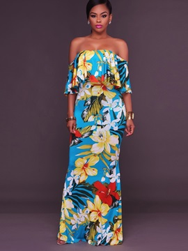Hot Boat Neck Floral Imprint Maxi Dress