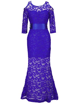 Chic Solid Color Long Sleeve Lace Maxi Dress