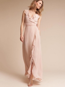 Chic Pink Sleeveless Chiffon Maxi Dress