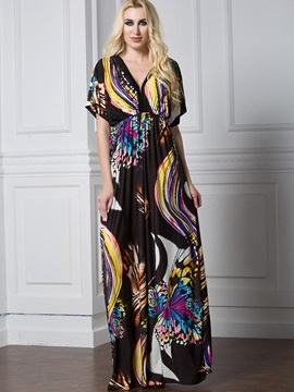 Floral Imprint V Neck Short Sleeve Plus Size Maxi Dress