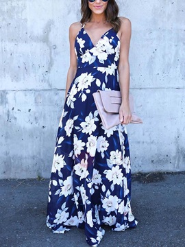 Floral Print Backless Maxi Women's Dress