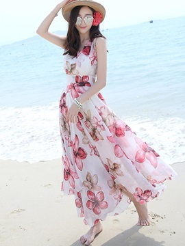 Round Neck Sleeveless Chiffon Maxi Dress