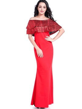 Red Boat Neck Women's Maxi Dress