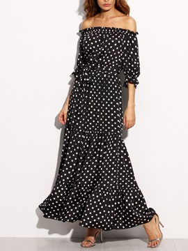 Polka Dots Boat Neck Women's Maxi Dress