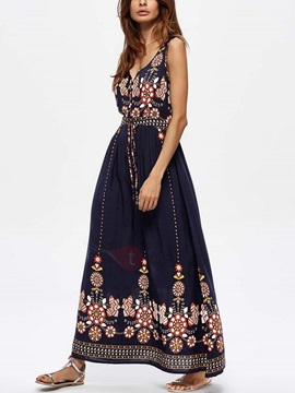 Sleeveless Floral Women's Maxi Dress