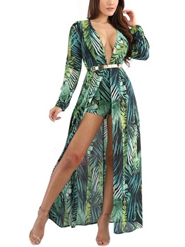 Floral Long Sleeves V Neck Women's Maxi Dress