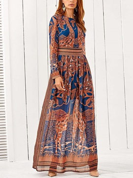 Ethnic Floral Long Sleeves Women's  Dress
