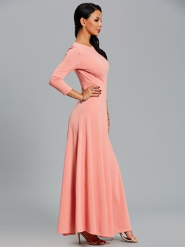Solid Color Half Sleeves Women's Maxi Dress