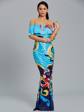 Boat Neck Floral Print Ruffle Sleeve Women's Maxi Dress