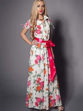 Petty Flowers Short Sleeve Women's Maxi Dress