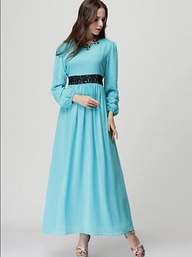 Multi-colored Long Sleeve Women's Maxi Dress