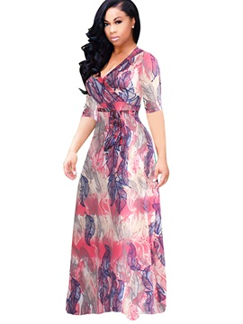 Floral Imprint Half Sleeve Plus Size Maxi Dress