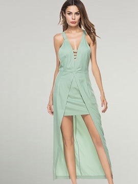 Green Sleeveless V Neck  Dress