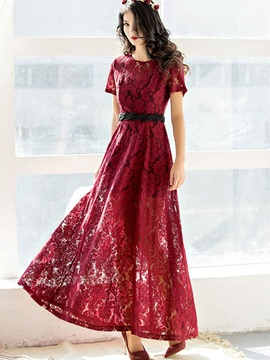 Red Short Sleeve Lace Maxi Dress