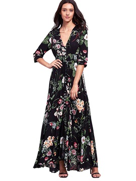 Floral Imprint V Neck Long Sleeve Women's Maxi Dress