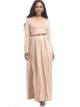 Simple Multi-colored Long Sleeve Women's Maxi Dress