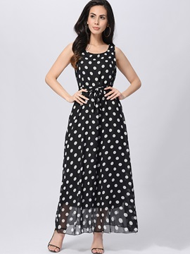 Polka Dots Sleeveless Women's Maxi Dress