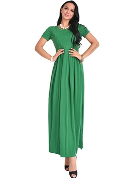 Fashion Multi-colored Short Sleeve Women's Maxi Dress