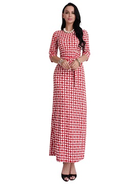 Amazing Round Neck Long Sleeve Women's Maxi Dress