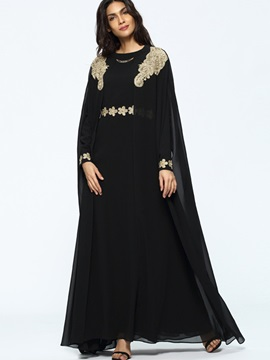Black Long Sleeve Chiffon Women's Maxi Dress