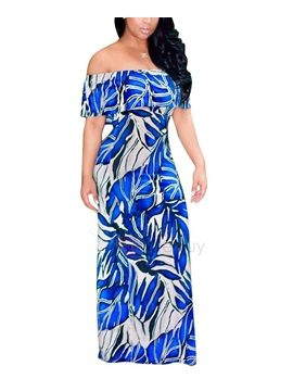 Floral Slash Neck Long Women's Maxi Dress