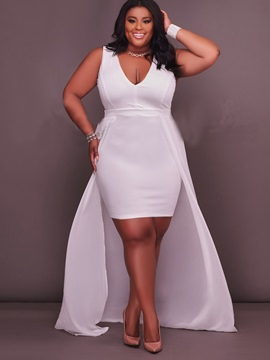 Solid Color Sleeveless Plus Size Maxi Dress
