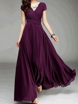 Floor-Length Solid Color V Neck  Dress