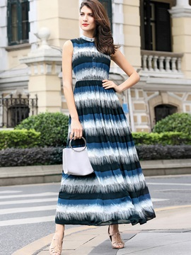 Chic Round Neck Sleeve Women's Maxi Dress