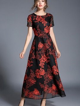 Vogue Floral Imprint Round Neck Women's Maxi Dress