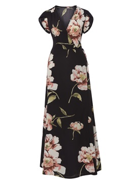 V-Neck Floral Print Women's Maxi Dress