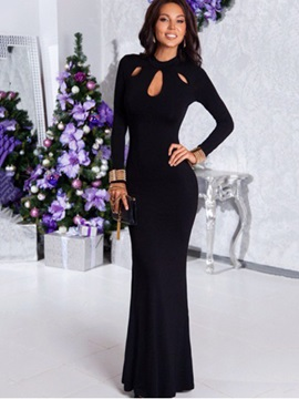 Black Hollow Long Sleeve Mermaid Women's Maxi Dress
