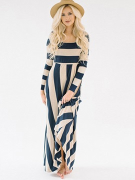 Striped Long Sleeves Slim Women's Maxi Dress