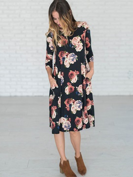 Floral 3/4 Sleeves Women's Maxi Dress