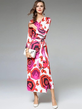 Chic Long Sleeve Floral Imprint Maxi Dress