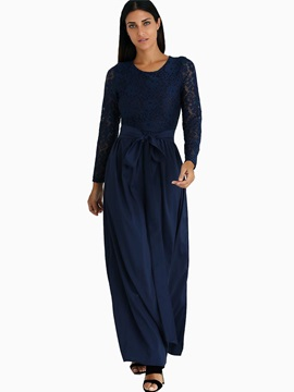 Royal Blue Long Sleeve Women's Maxi Dress